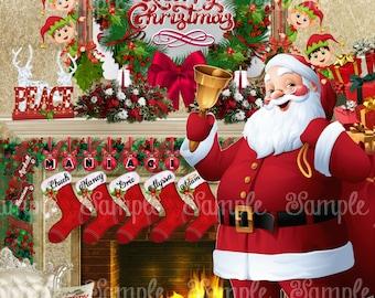 PERSONALIZED NAMES on Stockings Beautiful CHRISTMAS Santa Fireplace Mantel Scene with Elves Digital Printable Print