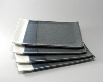 Plate Set-Ceramic Plates-Dish Set-Ceramic Tableware-Blue-White