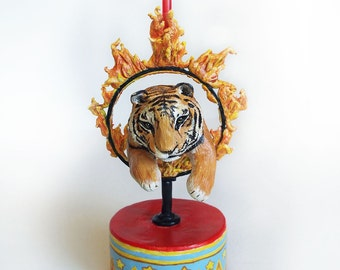 Original Hand Sculpted Circus Tiger Cake Topper & Candle Holder by Carrie Jackson