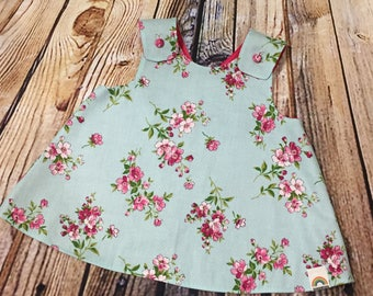 """Little Girl Dress """"Dixie"""" Crossover back Pinafore floral dress 9-12 month // Baby Shower Gift // Handmade Dress // Gifts for Baby Girls"""