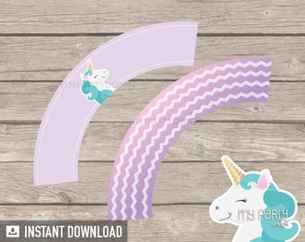 Unicorn Party - Cupcake wrappers - Pastel Purple - INSTANT DOWNLOAD - Printable PDF