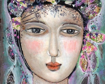 mixed media collage  painting  woman ethereal  paper  original imagination fragrant flowers garden spring summer imagination