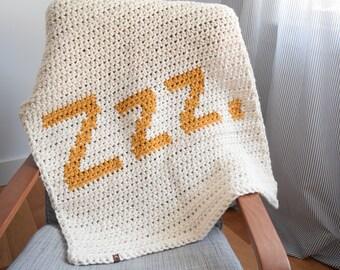 """x *READY TO SHIP* Chunky Knit Modern Simple Cozy Baby Blanket Crochet """"Zzz.""""x"""