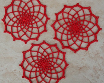 set of 3 Red doilies crocheted 10 cm