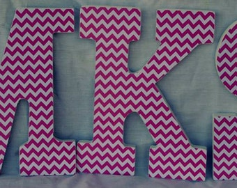 Pink Chevron Wood Letters