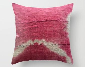 Pink Shibori Mudcloth Pillow Cover, Circle, Enso, Tie-Dye, Pink, White
