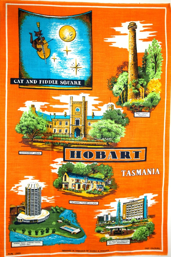 Hobart Cat The Fiddle Square Tasmania Tea Towel 60s
