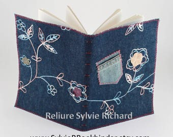 Notebook #7 with embroidered recycled Jeans 's  – personal diary - travel journal  - sketchbook, drawing, calligraphy…soft cover
