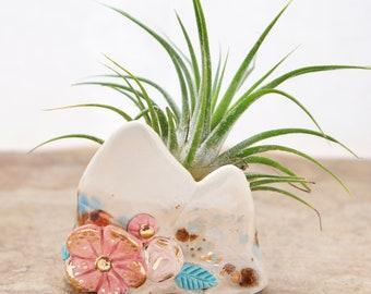 Mountain ceramic air plant Pot, boho henna pinch pot,  boho decor, mountain decor