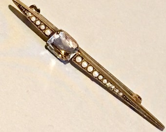 Edwardian Style Bar Pin - Faux Pearls and Diamonds