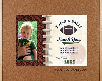 Football THANK YOU Note or Party Favor - personalized with name & photo - Play Ball - TOUCHDOWN