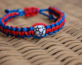 Royal Blue and Red Soccer Bracelet