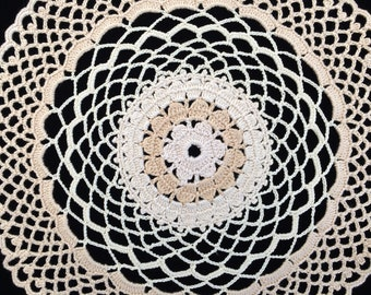 Crocheted Doily. Round Crochet Lace Doily. Vintage Style NEW Ivory/Beige Cotton Lace Doily. New Crochet Lace Doily RBT3104