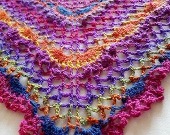 Crochet shawl, summer shawl, wrap, shrug, lace crochet shawl, stole, colourful shawl, spring shawl, triangle shawl, UK seller