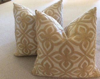 """Soft tan """"Flax"""" embroidered covers"""
