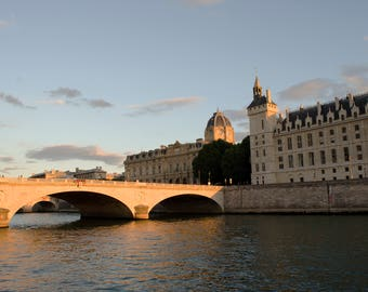 Wall art, Paris photograph, Sunset, Pont au Change, Bridge on river Seine, Conciergerie, Colour print