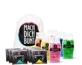 Confetti Set, 6 colors Kornfetti and micro confetti, incl. backpack