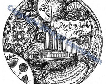 The REXBURG, IDAHO Temple Motif Print