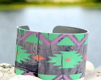 Aztec Geometric on Wood Cuff, Tribal Cuff, Adjustable Metal Cuff, Custom Printed Cuff Bracelet, Doodle Art Cuff