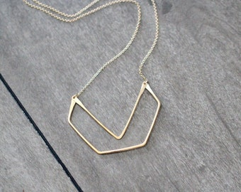 Geometric Gold Necklace , Hexagon Chevron Pendant , Gold Rose Gold or Sterling Silver , Boho Layering Necklace - Gable