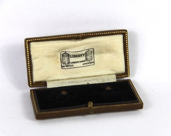 Antique Cuff Link Box, Leather  Display Box, Presentation Box, Wedding, Jewelry Display, Liberty London and Paris.