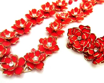 Red Rhinestone Flower necklace and earring set