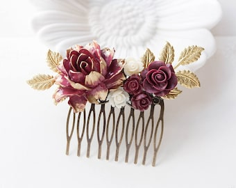 Burgundy Maroon Marsala Dark Red Rose Flower Hair Comb with Gold Leaf Branches, Bridal Hair Comb, Wedding Hair Comb, Large Hair Slide