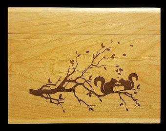 Custom Recipe Box, Personalized Recipe Box, Wood Recipe Box, Engraved Recipe Box, Hearts, Squirrel