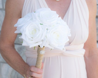 "White Silk Wedding Bouquet Natural Touch Off White Ivory Roses Silk Flower Bride Bouquet - 8"" Almost Fresh"