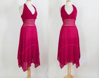 70s Dress / Vintage 70s Dress / Vintage Dress / Crochet Dress / 70s Halter Dress / Gauze Dress / Boho Dress / Red Dress / Size Small