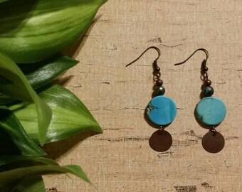 Turquoise earrings, Southwest earrings, boho earrings, Southwest earrings, Native American style earrings