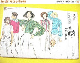 SALE 20% OFF Vogue 9200 1970s Secretary Blouse Sewing Pattern:Loose-fitting blouse jewel neckline, standing collar Vintage Sewing Pattern Bu