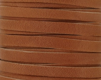 Leather-5mm Deerskin Lace-Saddle Tan-50 Feet