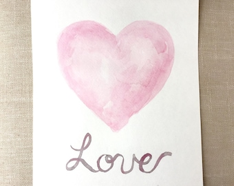 Heart Painting, Watercolor Heart Art, Love Painting, Valentine Painting, Valentines Day Gift, Watercolor Heart Painting, Watercolor Painting