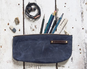 Waxed Canvas Pouch Medium Indigo Rook Pencil Case Make Up Bag Zipper Pouch Canvas Pouch Bag Purse Fathers Day Gift for Men Birthday Gift Mom