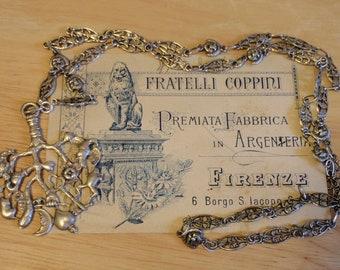 "CIMARUTA Fratelli COPPINI Pendant 30"" MaSKS Chain  Antique 800 Silver Necklace ITALY Witches Strega Charm Amulet"