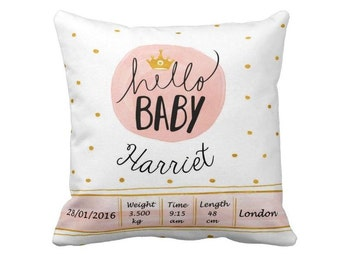 Personalized Baby Pillow, Birth announcement pillow, New baby gift, Baby Girl, Birth Cushion, Baby Shower Gift, Nursery Pillow Cushion