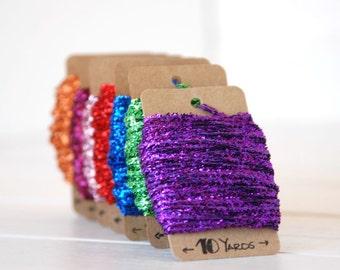 Tinsel Twine -  10 Yards - Metallic Tinsel Twine - Metallic Tinsel String - Colorful Tinsel Twine