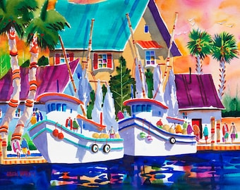 Boat Art, Boat Painting, Tarpon Springs, Florida, Tropical Art, Watercolor Print, Ellen Negley, Fishing Boats, 11 x 14, 16 x 20 or 20 x 24