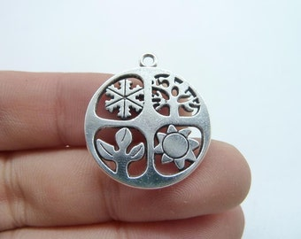 10pcs 24mm Four Seasons Charm Antique Silver Tone Absolutely Stunning C8327