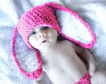 3 to 6m Pink Bunny Baby Hat, Easter Bunny Hat, Hot Pink Bunny Costume Baby Beanie, Infant Bunny Prop,    Crochet Baby Gift, Easter Hat