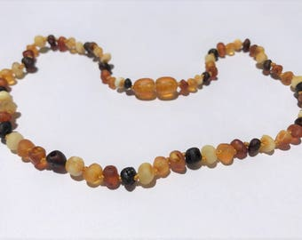 GENUINE Baltic Amber Baby Teething Necklace - RAW Unpolished Multicolored Baltic Amber Beads