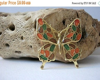 ON SALE Retro Gold Tone Colorful Larger Enameled Butterfly Pin 51418