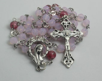 Pink Swarovski Rosary, Catholic Rosary, Confirmation Gift, Mothers Day Gift, Baptism Gift, First Communion Gift, Prayer Beads, Rosaries