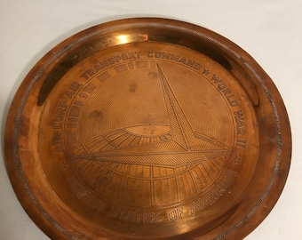 Old flat copper Air Corp Air Transport Command World War II USA Vintage decor
