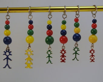Set of six Family oriented Stitch Markers