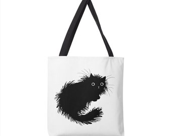 "Moggy (No.2) -  black and white cat - Tote Bag - Book Bag - (13"" x 13"") - (16"" x 16"") - (18"" x 18"")"
