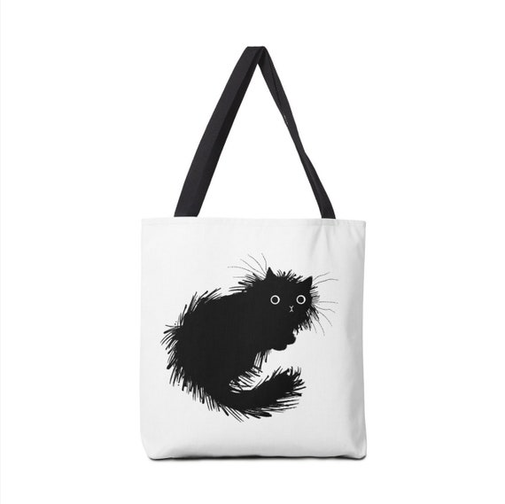 "Moggy (No.2) -  black and white cat - Tote Bag - Book Bag - (13"" x 13"") - (16"" x 16"") - (18"" x 18"")"