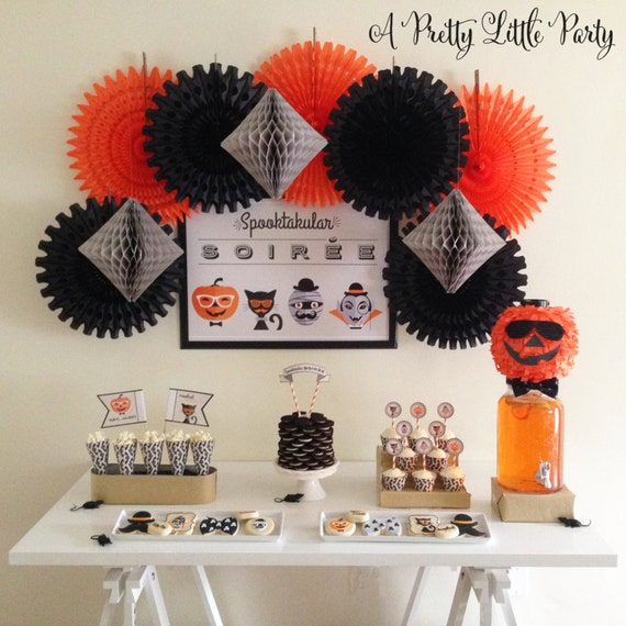 HIPSTER Spooky Soiree Halloween Party Pack  - Halloween Party Digital files - Party Supplies - INSTANT DOWNLOAD
