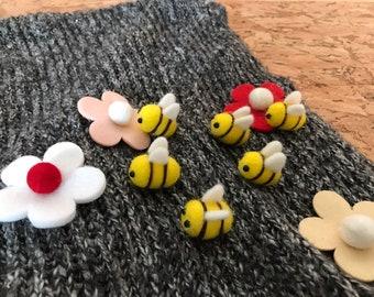 Needle Felting with Wool Roving - 1 PC of Handmade Honey Bee
